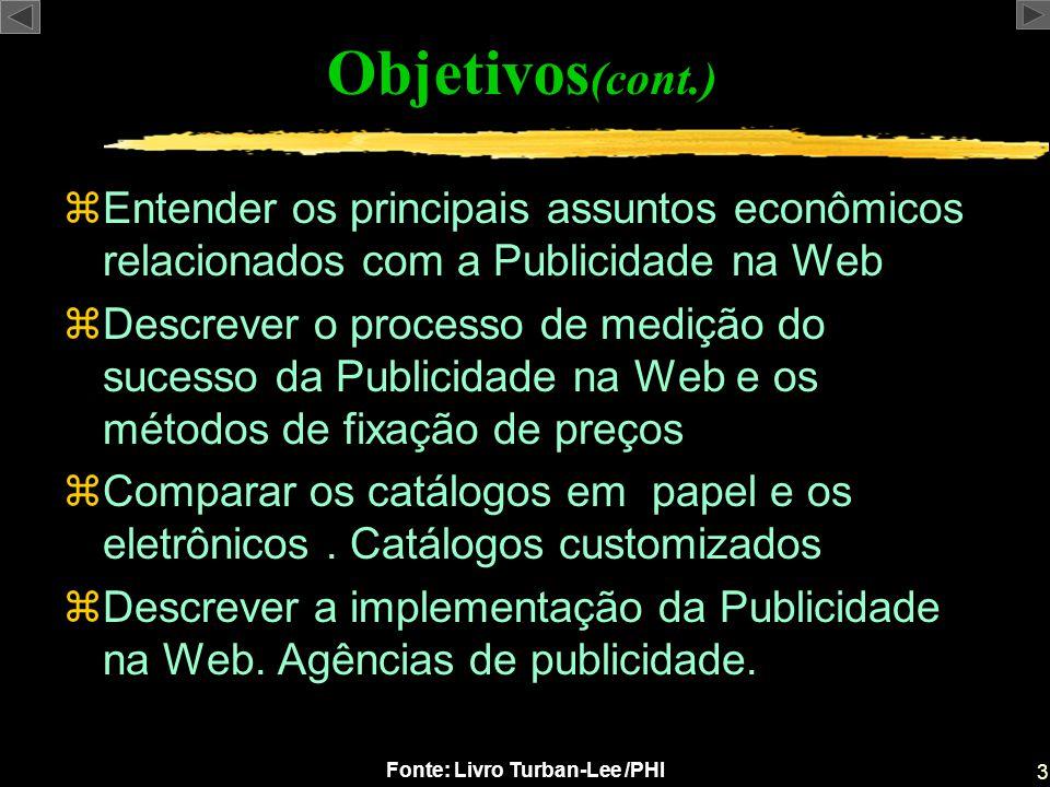 3 Fonte: Livro Turban-Lee /PHI zEntender os principais assuntos econômicos relacionados com a Publicidade na Web zDescrever o processo de medição do s