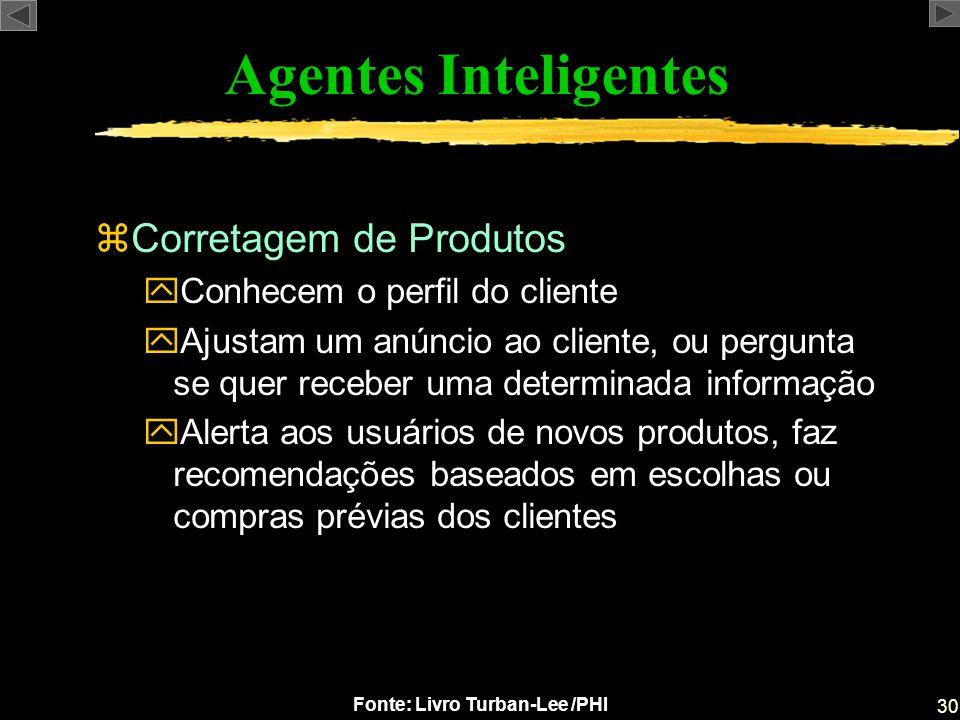 30 Fonte: Livro Turban-Lee /PHI Agentes Inteligentes zCorretagem de Produtos yConhecem o perfil do cliente yAjustam um anúncio ao cliente, ou pergunta