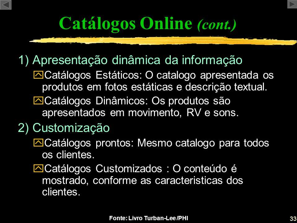 33 Fonte: Livro Turban-Lee /PHI 1) Apresentação dinâmica da informação yCatálogos Estáticos: O catalogo apresentada os produtos em fotos estáticas e d