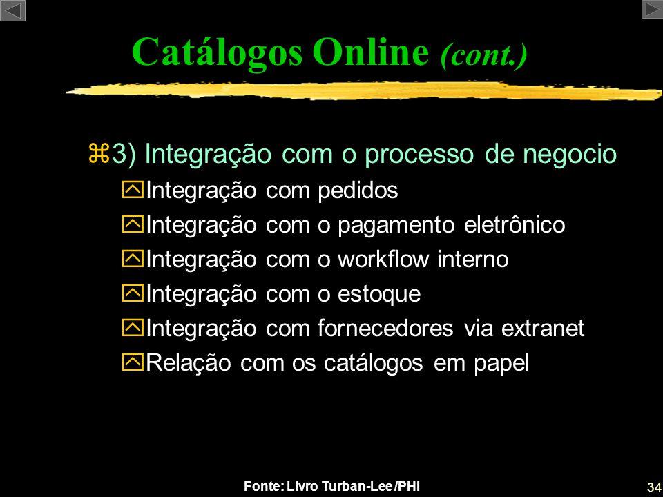 34 Fonte: Livro Turban-Lee /PHI z3) Integração com o processo de negocio yIntegração com pedidos yIntegração com o pagamento eletrônico yIntegração co