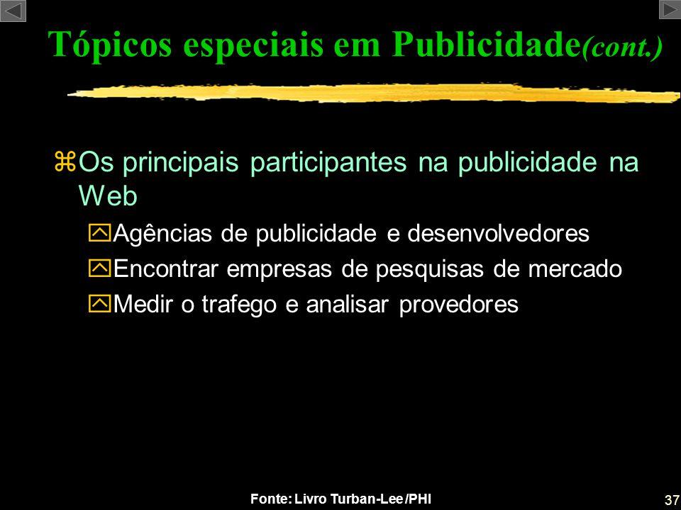 37 Fonte: Livro Turban-Lee /PHI zOs principais participantes na publicidade na Web yAgências de publicidade e desenvolvedores yEncontrar empresas de p