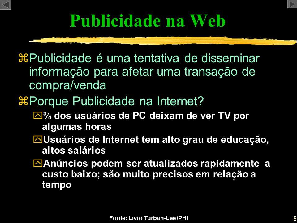 5 Fonte: Livro Turban-Lee /PHI Publicidade na Web zPublicidade é uma tentativa de disseminar informação para afetar uma transação de compra/venda zPor