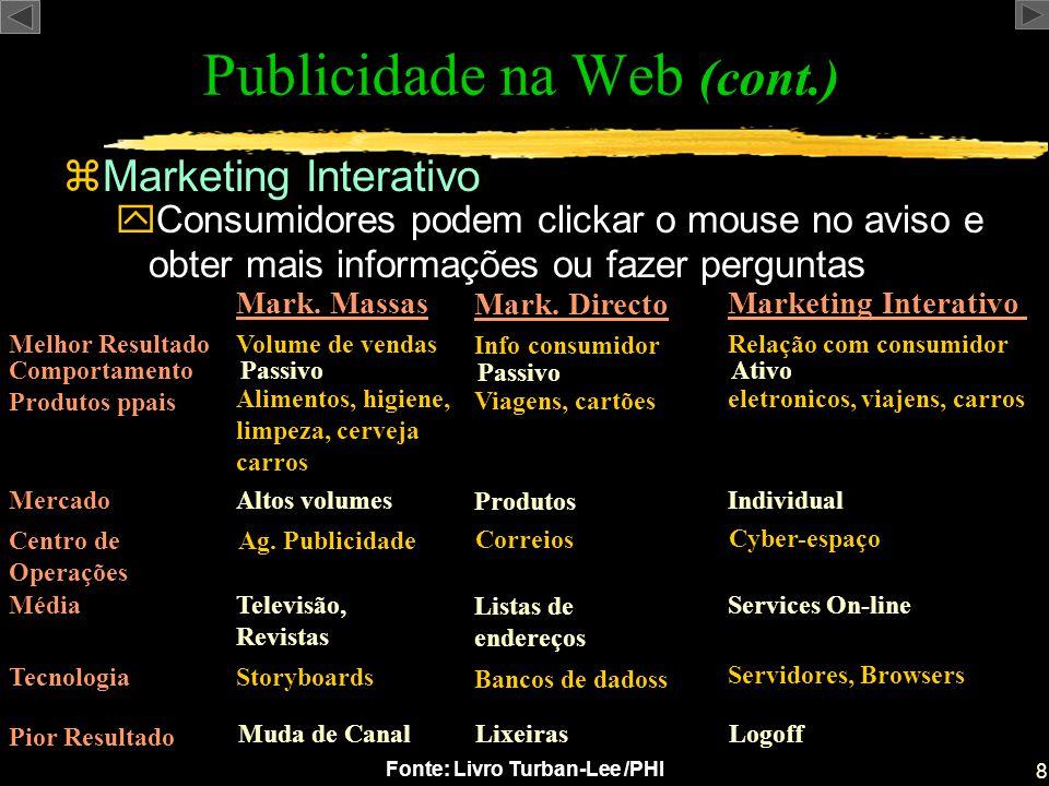 8 Fonte: Livro Turban-Lee /PHI zMarketing Interativo Publicidade na Web (cont.) yConsumidores podem clickar o mouse no aviso e obter mais informações