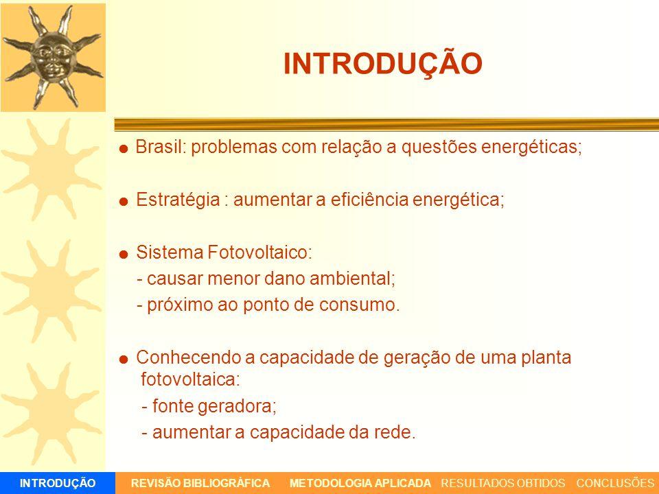 Brasil: problemas com relação a questões energéticas; Estratégia : aumentar a eficiência energética; Sistema Fotovoltaico: - causar menor dano ambient