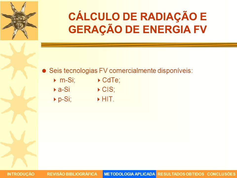 CÁLCULO DE RADIAÇÃO E GERAÇÃO DE ENERGIA FV Seis tecnologias FV comercialmente disponíveis: m-Si; CdTe; a-Si CIS; p-Si; HIT. INTRODUÇÃORESULTADOS OBTI