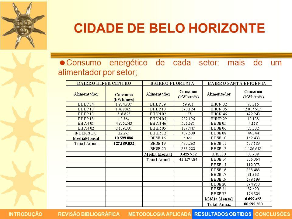 CIDADE DE BELO HORIZONTE INTRODUÇÃORESULTADOS OBTIDOSCONCLUSÕESREVISÃO BIBLIOGRÁFICAMETODOLOGIA APLICADA Consumo energético de cada setor: mais de um