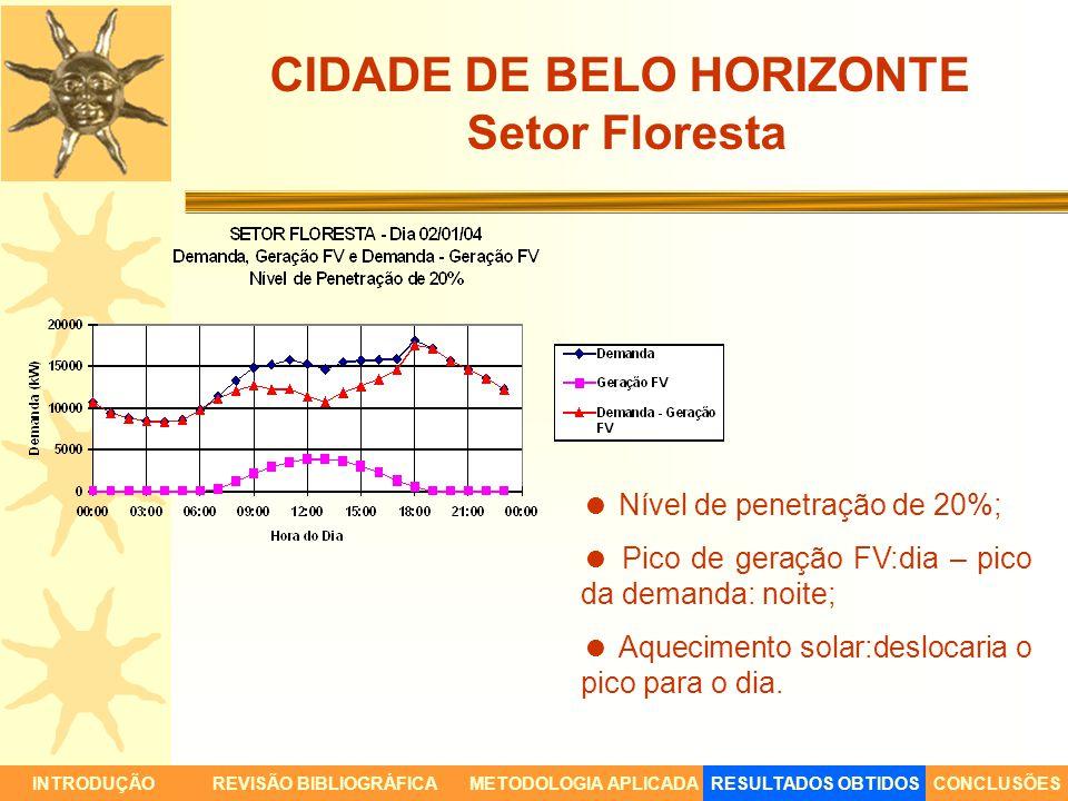 CIDADE DE BELO HORIZONTE Setor Floresta INTRODUÇÃORESULTADOS OBTIDOSCONCLUSÕESREVISÃO BIBLIOGRÁFICAMETODOLOGIA APLICADA Nível de penetração de 20%; Pi