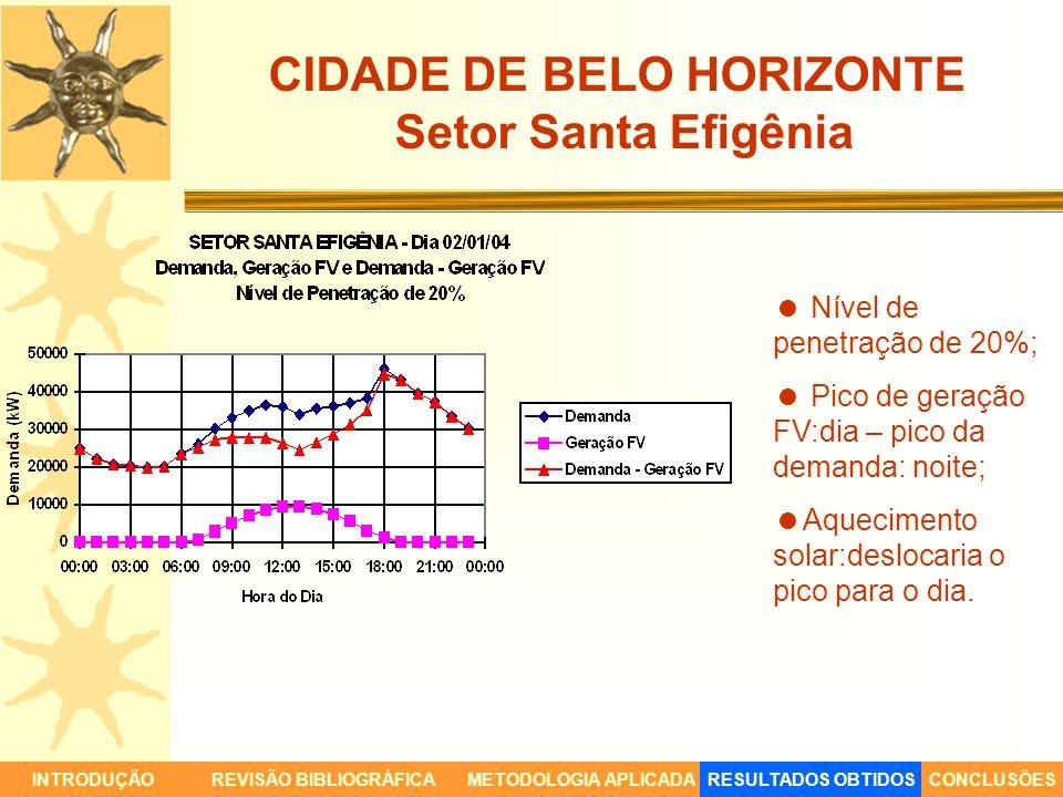CIDADE DE BELO HORIZONTE Setor Santa Efigênia INTRODUÇÃORESULTADOS OBTIDOSCONCLUSÕESREVISÃO BIBLIOGRÁFICAMETODOLOGIA APLICADA Nível de penetração de 2