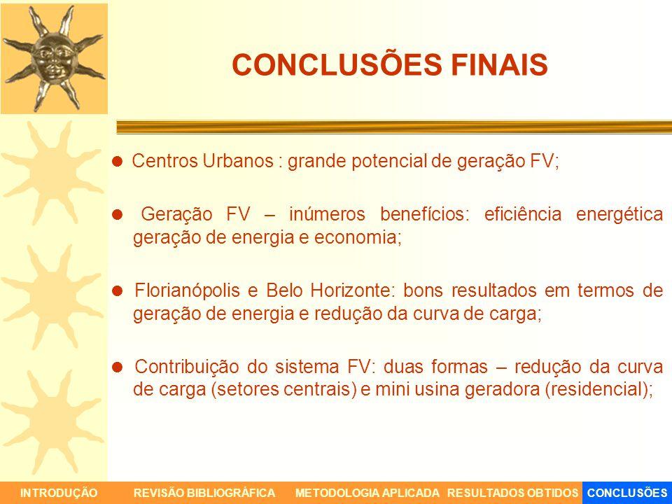 CONCLUSÕES FINAIS Centros Urbanos : grande potencial de geração FV; Geração FV – inúmeros benefícios: eficiência energética geração de energia e econo