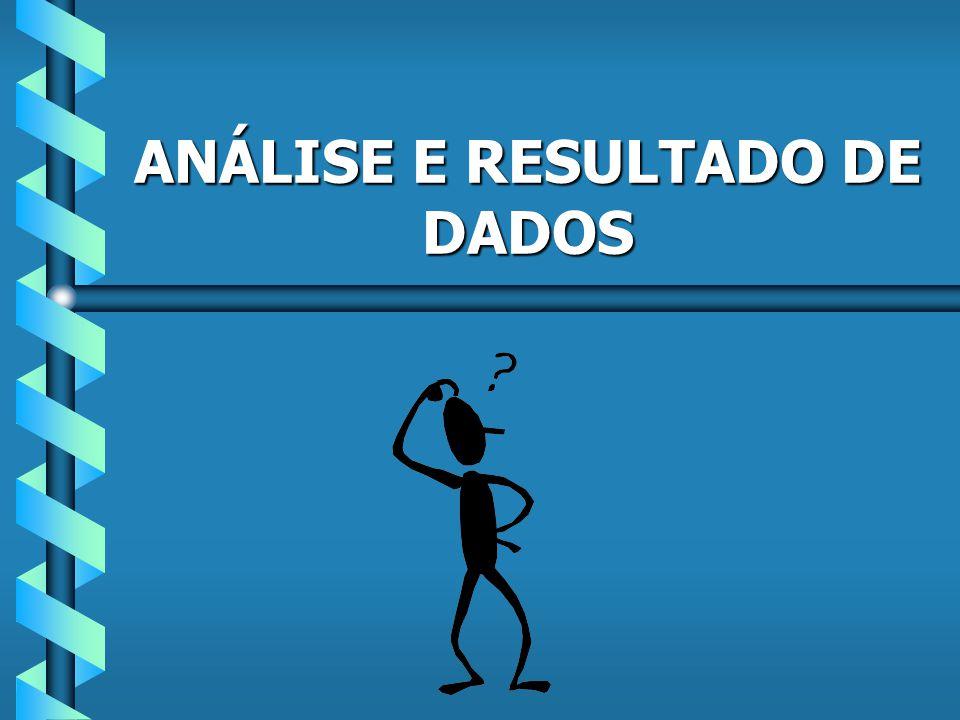 ANÁLISE E RESULTADO DE DADOS
