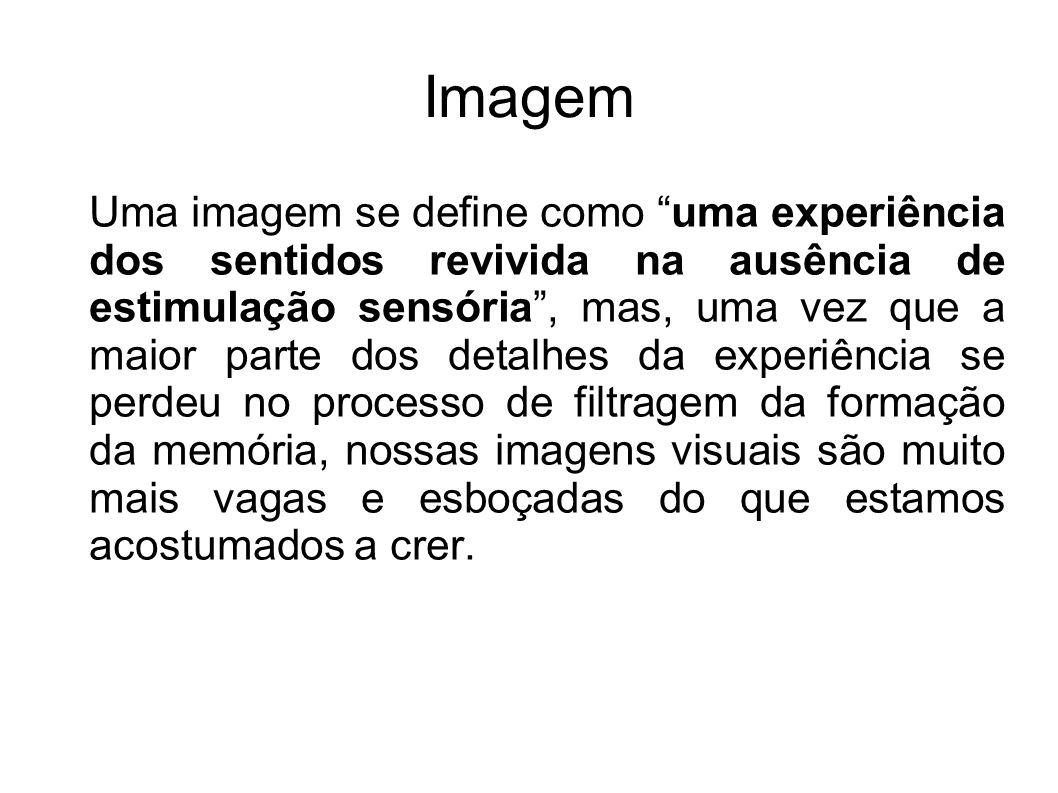 Imagem Uma imagem se define como uma experiência dos sentidos revivida na ausência de estimulação sensória, mas, uma vez que a maior parte dos detalhe