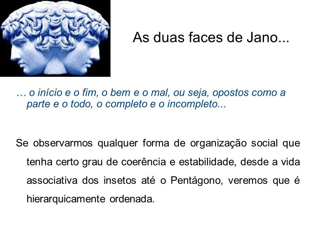 As duas faces de Jano... … o início e o fim, o bem e o mal, ou seja, opostos como a parte e o todo, o completo e o incompleto... Se observarmos qualqu