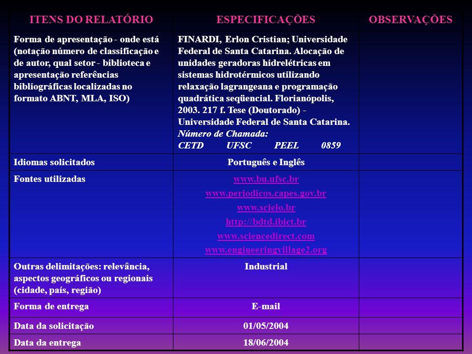 ITENS DO RELATÓRIOESPECIFICAÇÕESOBSERVAÇÕES Forma de apresentação - onde está (notação número de classificação e de autor, qual setor - biblioteca e apresentação referências bibliográficas localizadas no formato ABNT, MLA, ISO) FINARDI, Erlon Cristian; Universidade Federal de Santa Catarina.