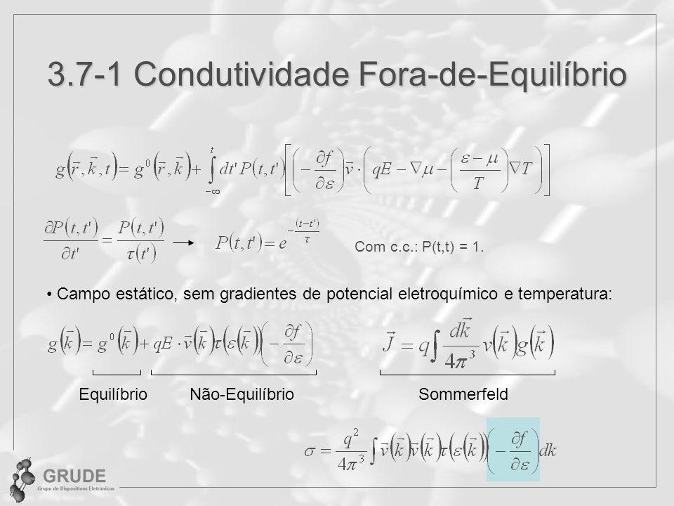 3.7-1 Condutividade Fora-de-Equilíbrio Campo estático, sem gradientes de potencial eletroquímico e temperatura: EquilíbrioNão-EquilíbrioSommerfeld Com c.c.: P(t,t) = 1.