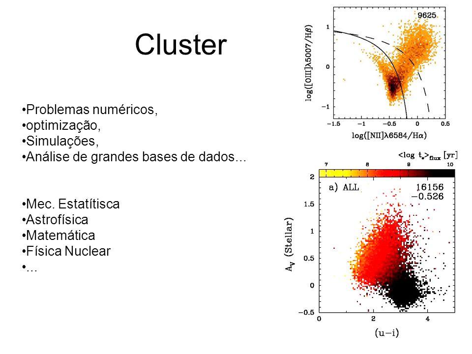 Cluster Problemas numéricos, optimização, Simulações, Análise de grandes bases de dados...