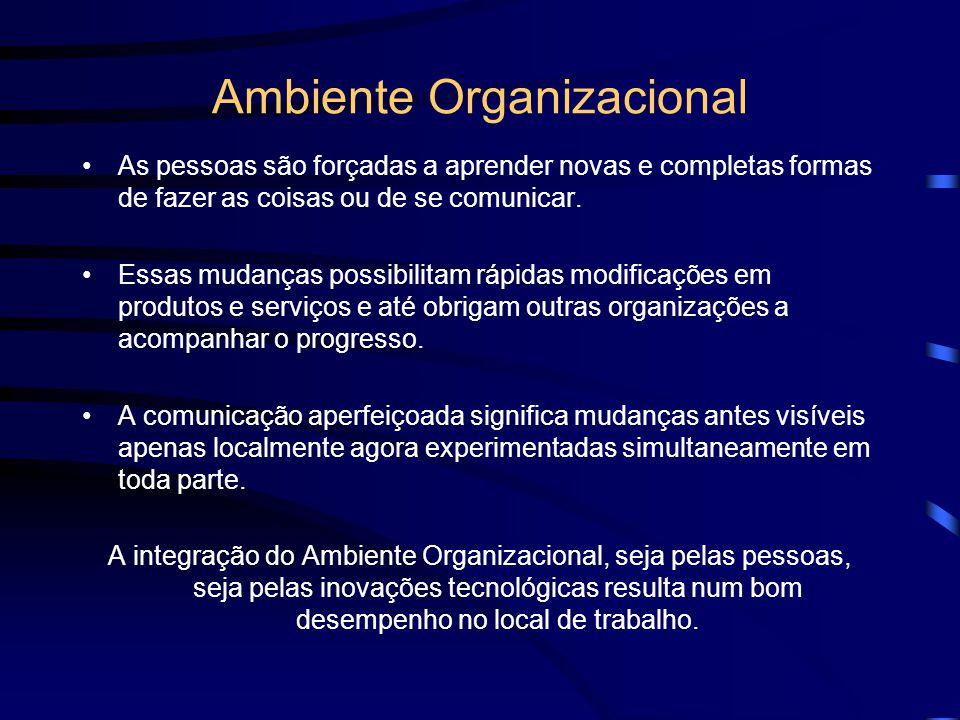 Ambiente Organizacional As pessoas são forçadas a aprender novas e completas formas de fazer as coisas ou de se comunicar. Essas mudanças possibilitam