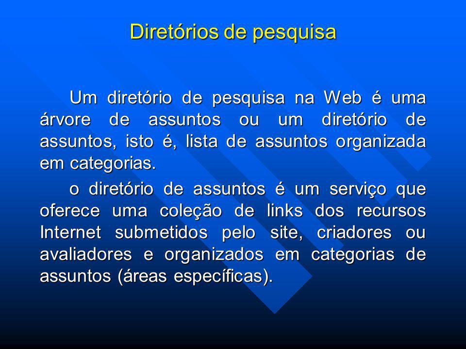 Diretórios de pesquisa Um diretório de pesquisa na Web é uma árvore de assuntos ou um diretório de assuntos, isto é, lista de assuntos organizada em categorias.