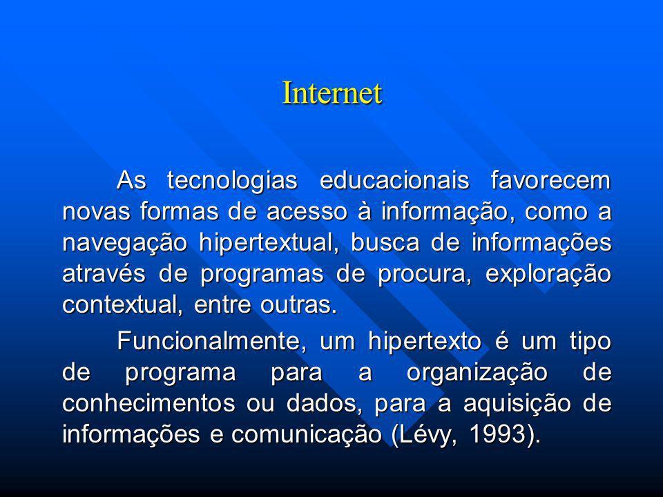 Internet As tecnologias educacionais favorecem novas formas de acesso à informação, como a navegação hipertextual, busca de informações através de programas de procura, exploração contextual, entre outras.