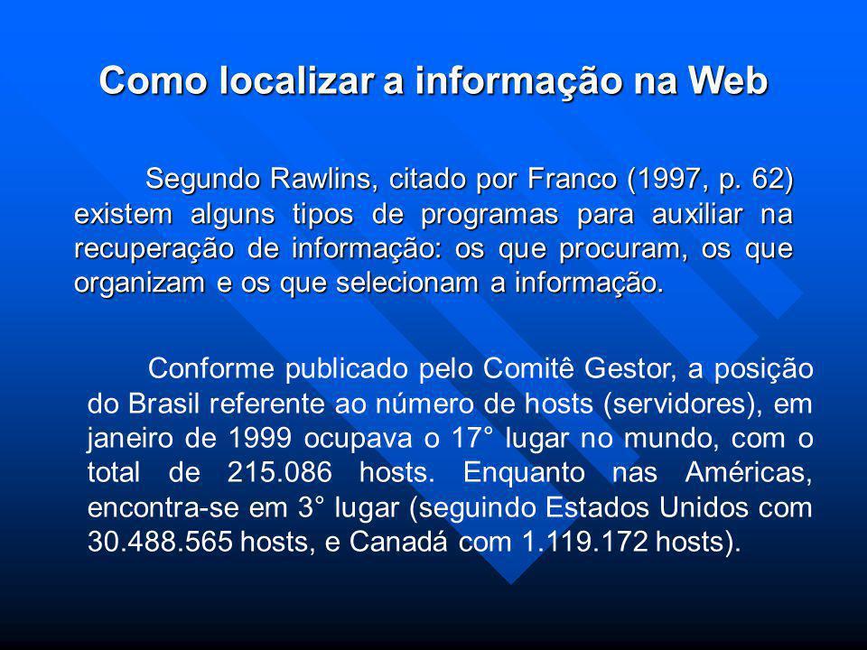 Como localizar a informação na Web Segundo Rawlins, citado por Franco (1997, p.