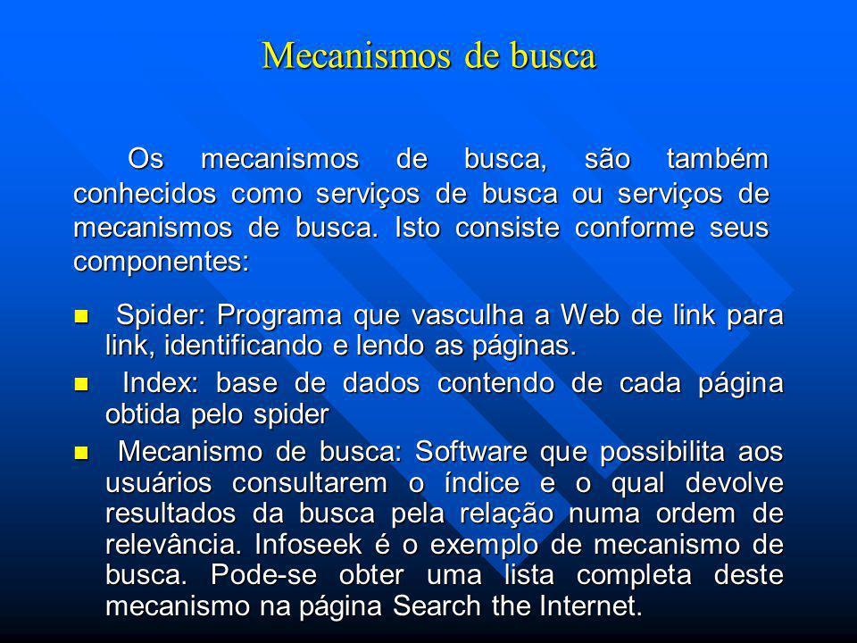 Mecanismos de busca Spider: Programa que vasculha a Web de link para link, identificando e lendo as páginas.