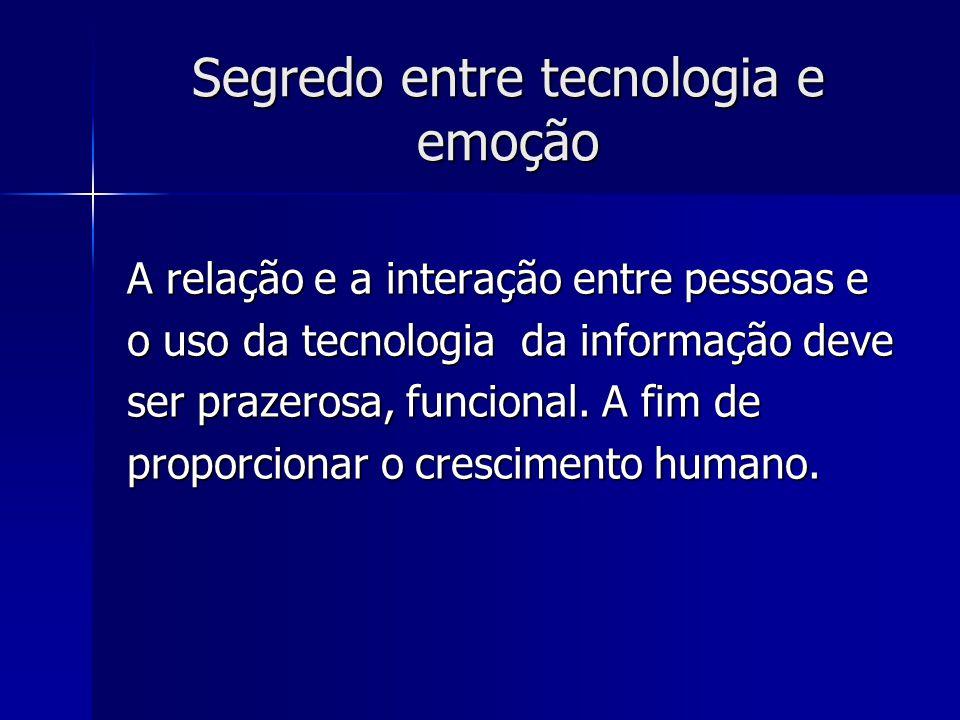 Segredo entre tecnologia e emoção A relação e a interação entre pessoas e o uso da tecnologia da informação deve ser prazerosa, funcional.
