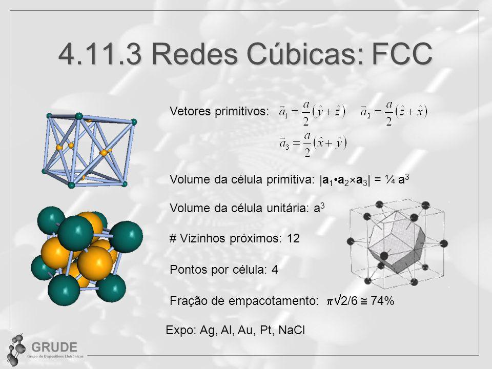 4.11.3 Redes Cúbicas: FCC Vetores primitivos: Volume da célula unitária: a 3 # Vizinhos próximos: 12 Pontos por célula: 4 Fração de empacotamento: 2/6 74% Expo: Ag, Al, Au, Pt, NaCl Volume da célula primitiva: |a 1a 2 a 3 | = ¼ a 3