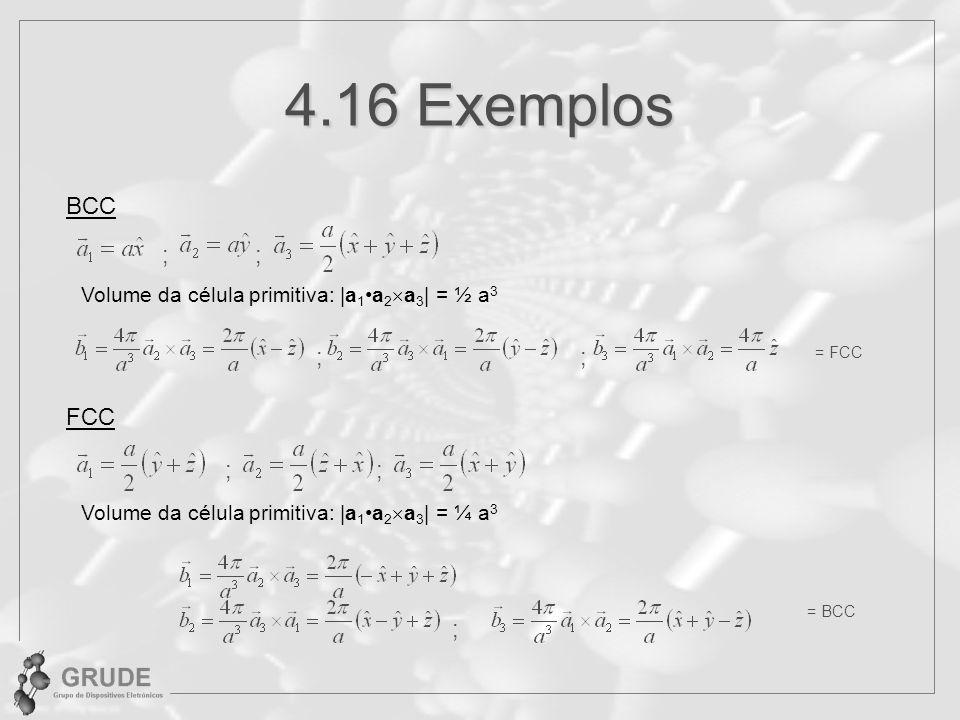 4.16 Exemplos BCC ; Volume da célula primitiva: |a 1a 2 a 3 | = ½ a 3 ; ;; = FCC FCC Volume da célula primitiva: |a 1a 2 a 3 | = ¼ a 3 ; = BCC ; ;