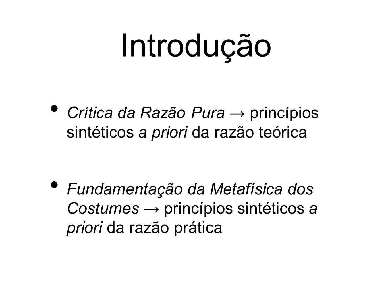 Introdução Crítica da Razão Pura princípios sintéticos a priori da razão teórica Fundamentação da Metafísica dos Costumes princípios sintéticos a priori da razão prática