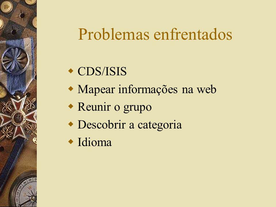 Problemas enfrentados CDS/ISIS Mapear informações na web Reunir o grupo Descobrir a categoria Idioma