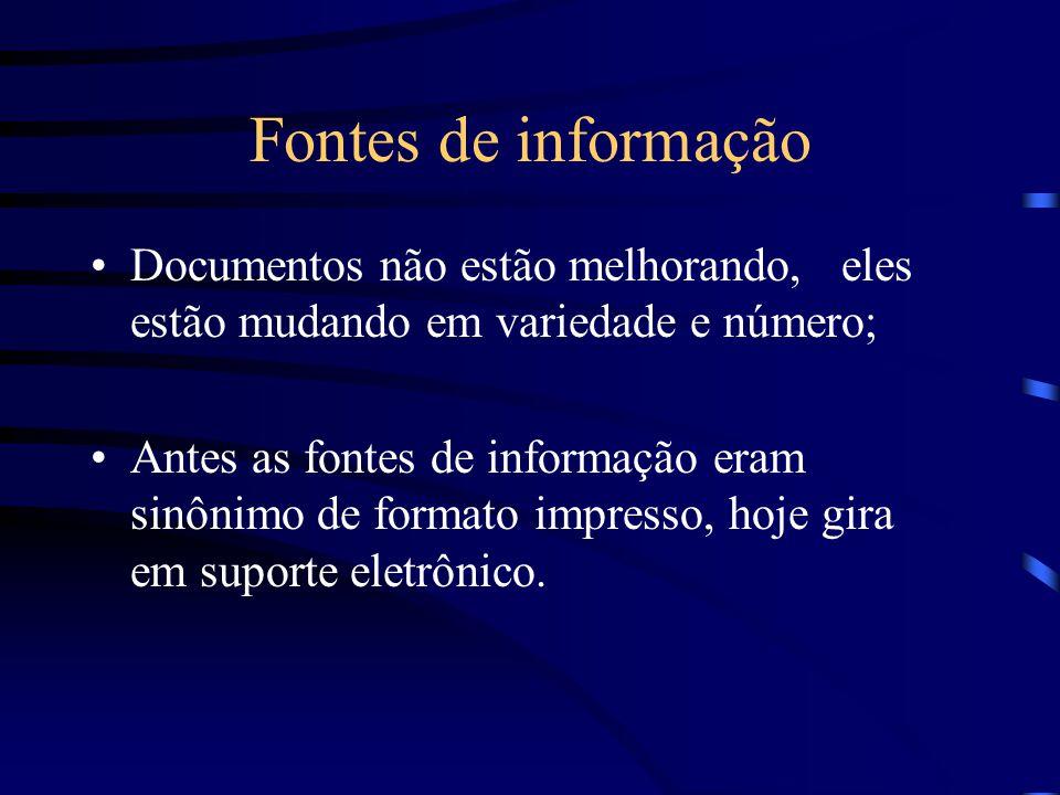 Fontes de informação Documentos não estão melhorando, eles estão mudando em variedade e número; Antes as fontes de informação eram sinônimo de formato