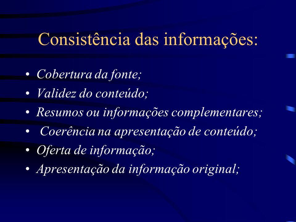Consistência das informações: Cobertura da fonte; Validez do conteúdo; Resumos ou informações complementares; Coerência na apresentação de conteúdo; O
