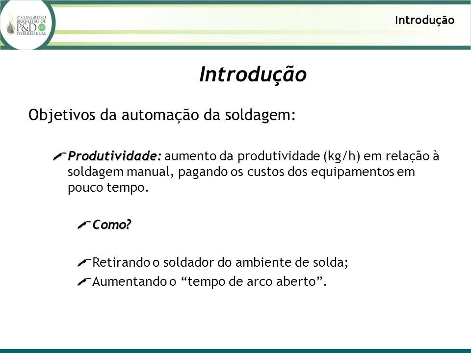Introdução Objetivos da automação da soldagem: Produtividade: Produtividade: aumento da produtividade (kg/h) em relação à soldagem manual, pagando os