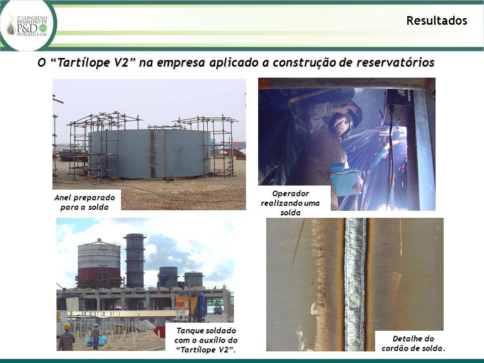 Resultados O Tartílope V2 na empresa aplicado a construção de reservatórios Anel preparado para a solda Operador realizando uma solda Detalhe do cordã