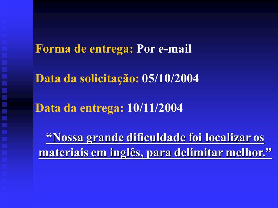 Forma de entrega: Por e-mail Data da solicitação: 05/10/2004 Data da entrega: 10/11/2004 Nossa grande dificuldade foi localizar os materiais em inglês, para delimitar melhor.