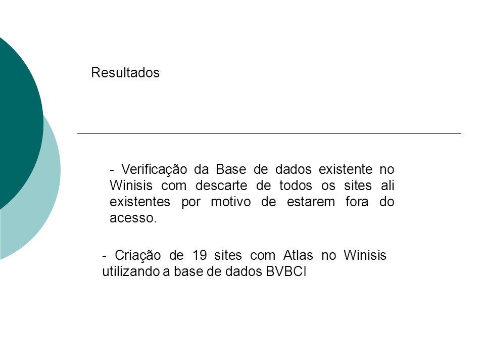Resultados - Criação de 19 sites com Atlas no Winisis utilizando a base de dados BVBCI - Verificação da Base de dados existente no Winisis com descart