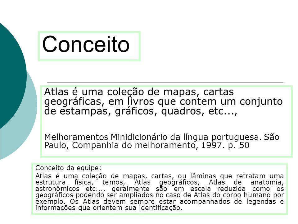 Conceito Conceito da equipe: Atlas é uma coleção de mapas, cartas, ou lâminas que retratam uma estrutura física, temos, Atlas geográficos, Atlas de an