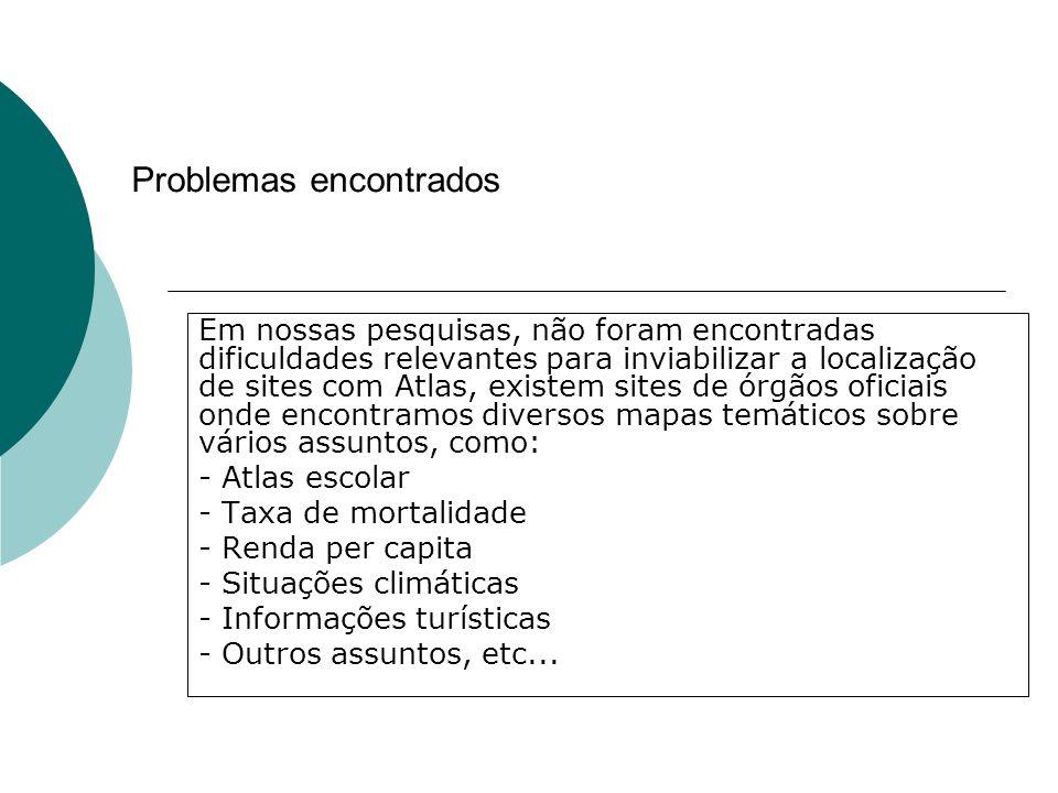Problemas encontrados Em nossas pesquisas, não foram encontradas dificuldades relevantes para inviabilizar a localização de sites com Atlas, existem s