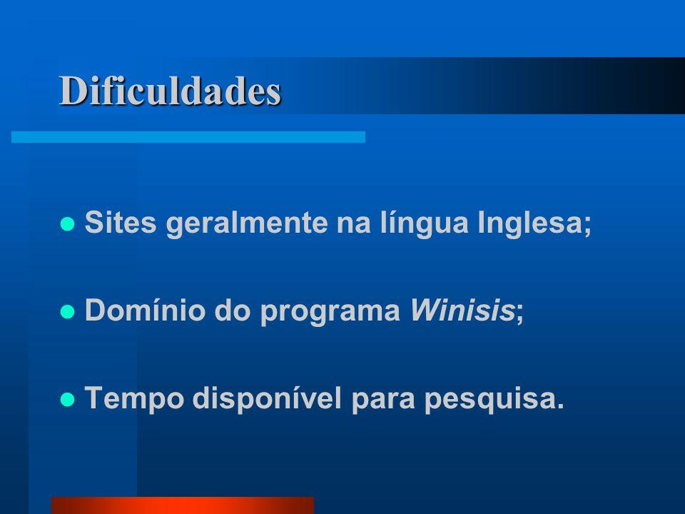 Dificuldades Sites geralmente na língua Inglesa; Domínio do programa Winisis; Tempo disponível para pesquisa.