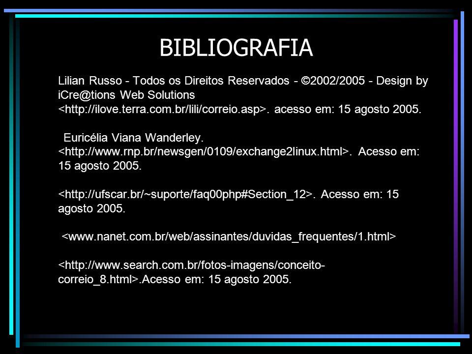 BIBLIOGRAFIA Lilian Russo - Todos os Direitos Reservados - ©2002/2005 - Design by iCre@tions Web Solutions.