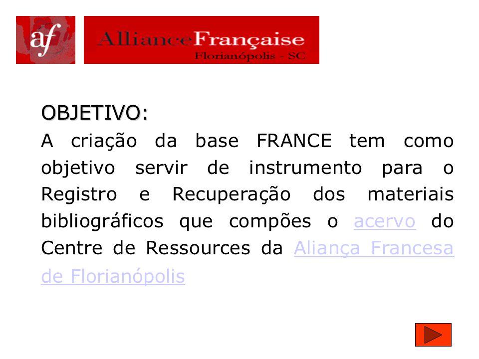 UNIVERSIDADE FEDERAL DE SANTA CATARINA CENTRO DE CIÊNCIAS DA EDUCAÇÃO DEPARTAMENTO DE CIÊNCIA DA INFORMAÇÃO DISCIPLINA:Gerenciador de Bases de Dados CDS/ISIS Professora: Úrsula Blattmann Criação de uma base de dados utilizando WinISIS intitulada: FRANCE Acadêmicas: Camila e Maria Emília
