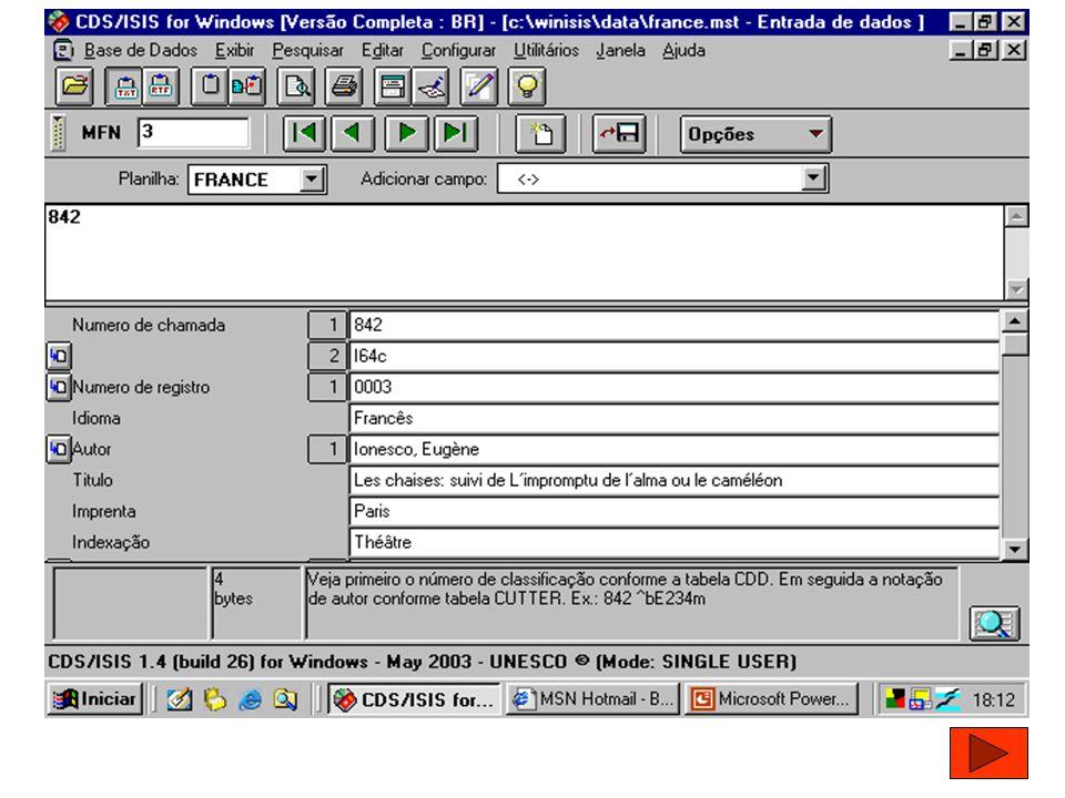MANUAL DA BASE DE DADOS CAMPOS UTILIZADOS: Autor / Título / Imprenta / Notas / Indexação / Editor responsável / Assunto / Endereço Físico / E- mail / URL / Iniciais do Indexador / Data de Inclusão / Data da última atualização / Número de chamada / Número de registro / Idioma.