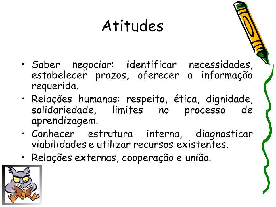 Atitudes Saber negociar: identificar necessidades, estabelecer prazos, oferecer a informação requerida. Relações humanas: respeito, ética, dignidade,