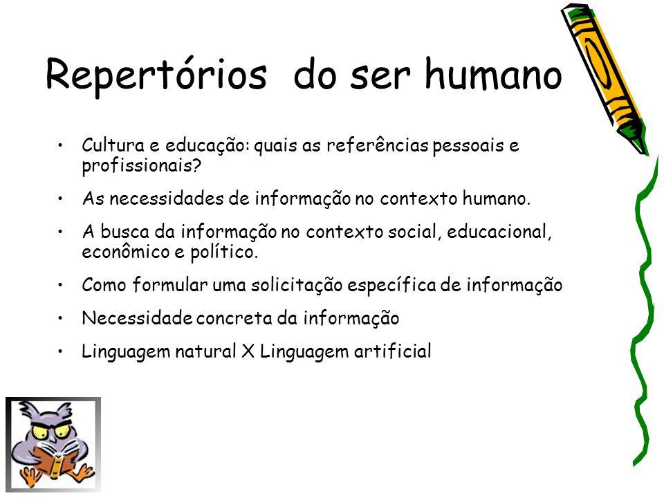 Repertórios do ser humano Cultura e educação: quais as referências pessoais e profissionais? As necessidades de informação no contexto humano. A busca