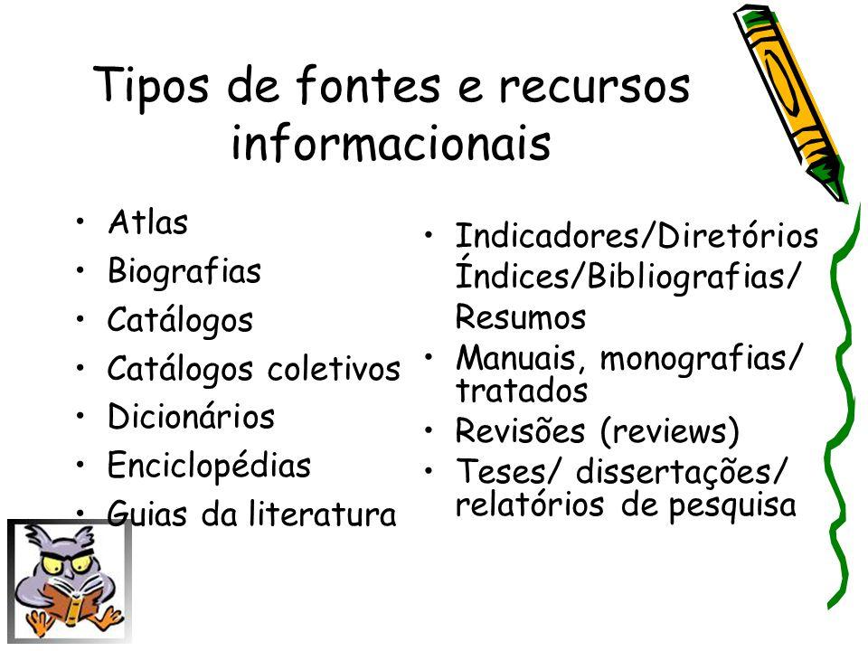 Tipos de fontes e recursos informacionais Atlas Biografias Catálogos Catálogos coletivos Dicionários Enciclopédias Guias da literatura Indicadores/Dir