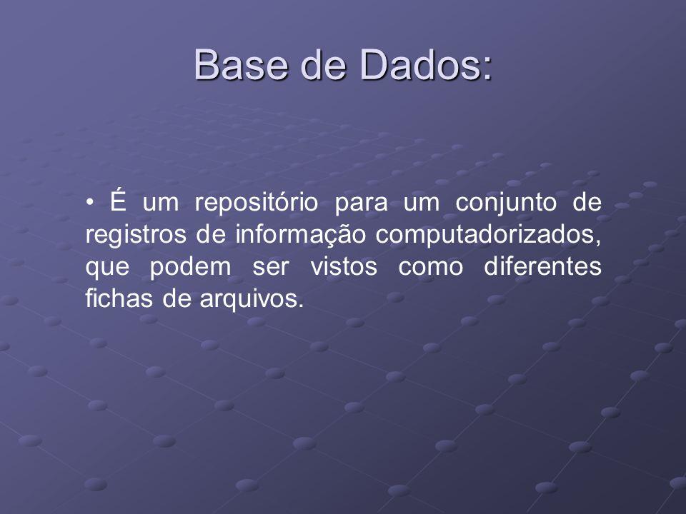 Base de Dados: É um repositório para um conjunto de registros de informação computadorizados, que podem ser vistos como diferentes fichas de arquivos.