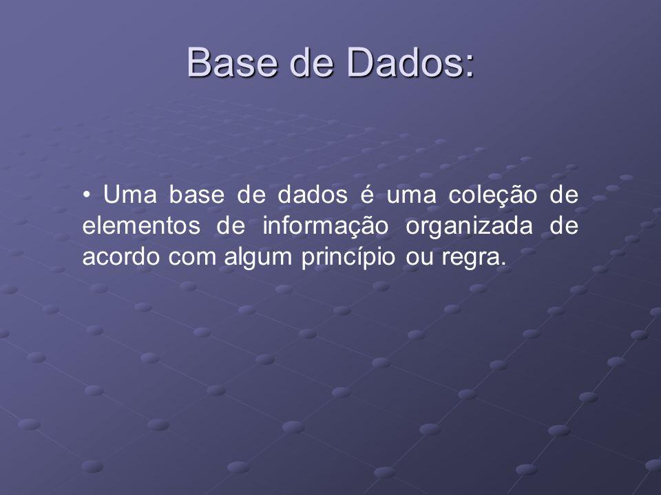 Uma base de dados é uma coleção de elementos de informação organizada de acordo com algum princípio ou regra. Base de Dados: