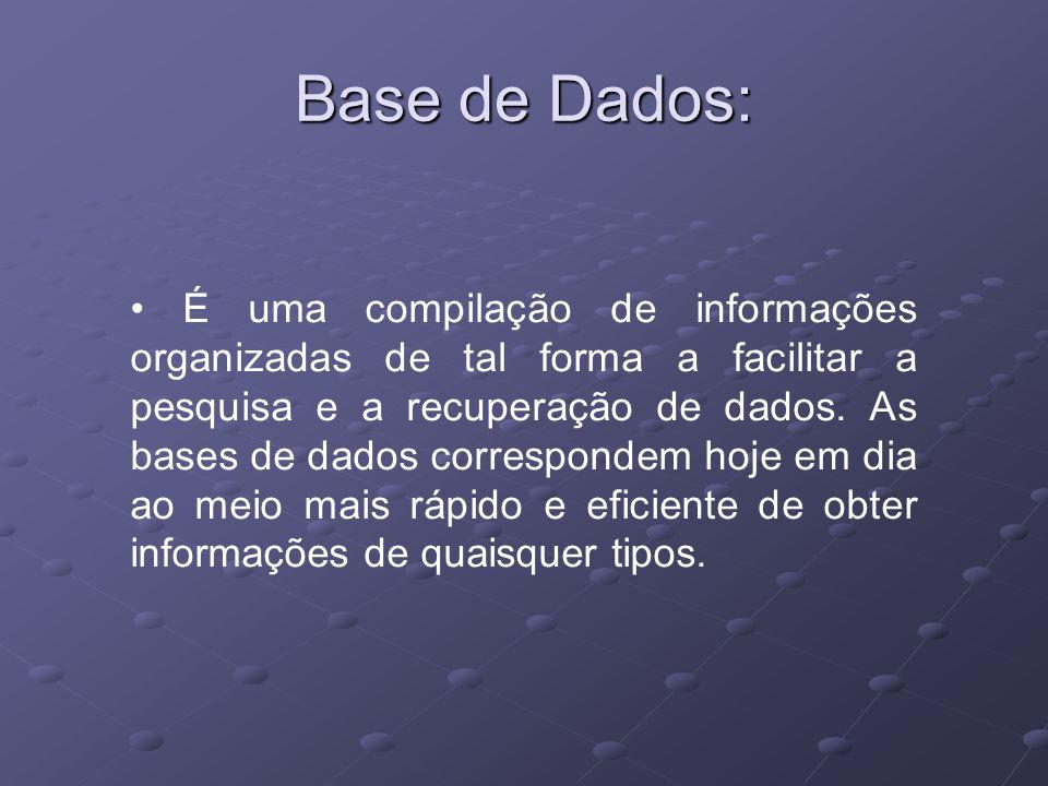 É uma compilação de informações organizadas de tal forma a facilitar a pesquisa e a recuperação de dados. As bases de dados correspondem hoje em dia a