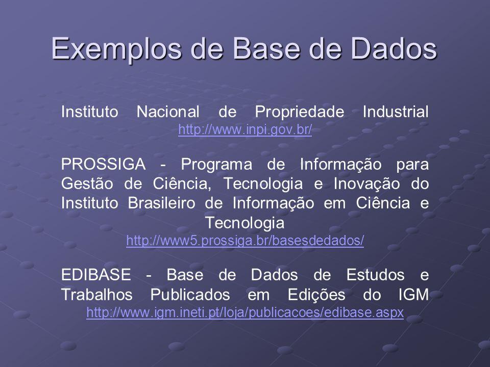 Instituto Nacional de Propriedade Industrial http://www.inpi.gov.br/ PROSSIGA - Programa de Informação para Gestão de Ciência, Tecnologia e Inovação do Instituto Brasileiro de Informação em Ciência e Tecnologia http://www5.prossiga.br/basesdedados/ EDIBASE - Base de Dados de Estudos e Trabalhos Publicados em Edições do IGM http://www.igm.ineti.pt/loja/publicacoes/edibase.aspx http://www.inpi.gov.br/ http://www5.prossiga.br/basesdedados/ http://www.igm.ineti.pt/loja/publicacoes/edibase.aspx Exemplos de Base de Dados