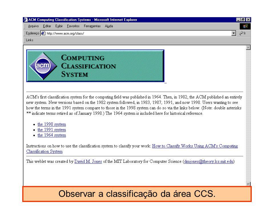 Observar a classificação da área CCS.
