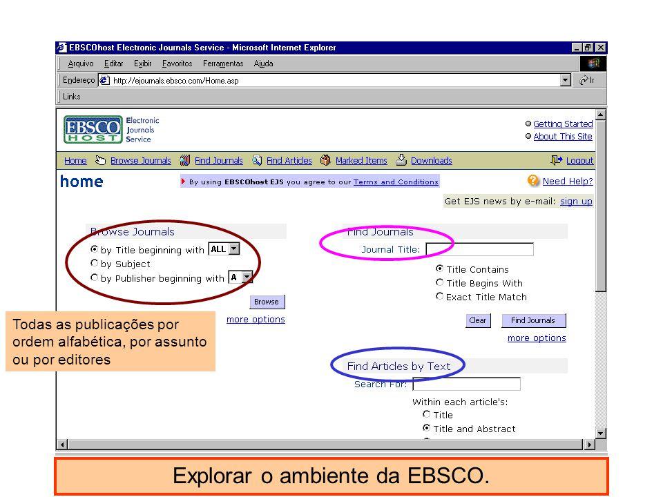 Explorar o ambiente da EBSCO. Todas as publicações por ordem alfabética, por assunto ou por editores